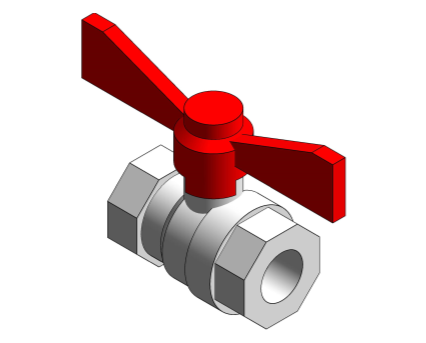Revit, Bim, Store, Components, MEP, Object, Altecnic, Mechanical, Pipe, Intaball, Lever, Ball, Valve, red, Handle, Hot, Water, bsp, female, high, flow, rate, pressure, drop