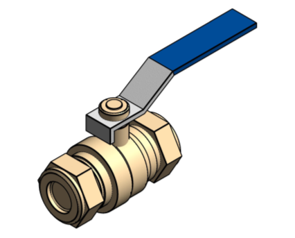 Revit, Bim, Store, Components, MEP, Object, Altecnic, Mechanical, Pipe, Intaball, Lever, Ball Valve, Blue, Handle, Cold, Water