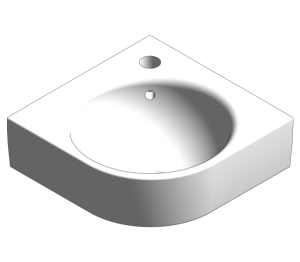 Product: E200 Round Corner 320x320mm Washbasin