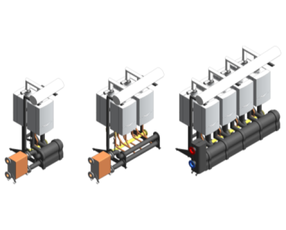 BIM, content, object, component, Bimstore, Revit, MEP, Vaillant, Boiler, Gas, Condensing, ecoTEC, Commercial, 46kW, 65kW, 80kW, 100kW, 120kW, Casacde, Rig, Back-to-Back, low, loss, header, plate,heat, exchanger